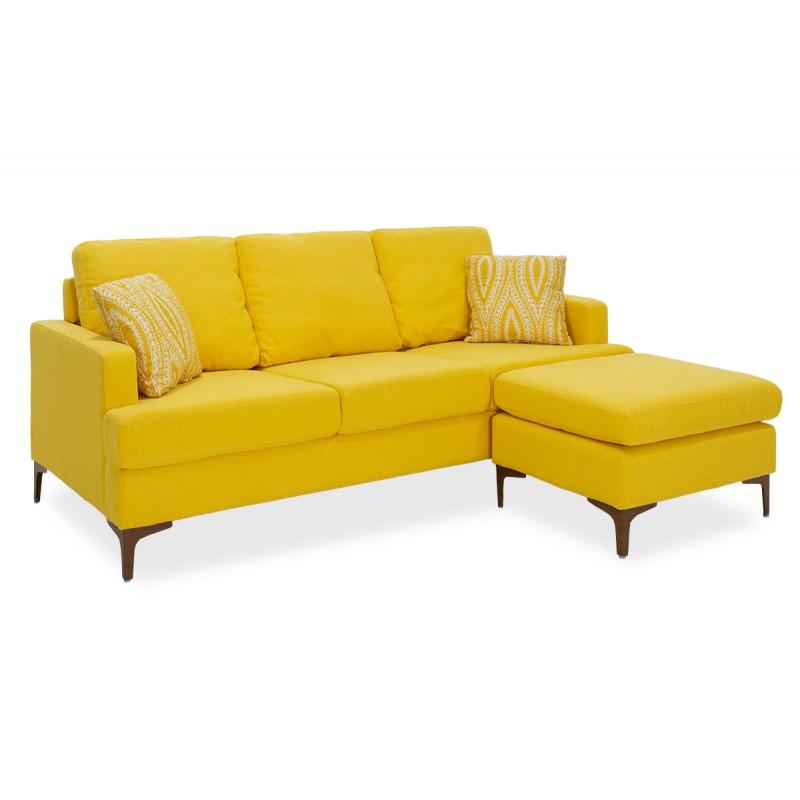 """Γωνιακός καναπές """"SLIM"""" με σκαμπώ υφασμάτινος σε κίτρινο χρώμα 185x140x70"""