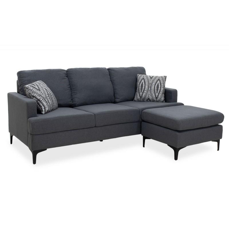 """Γωνιακός καναπές """"SLIM"""" με σκαμπώ υφασμάτινος σε ανθρακί χρώμα 185x140x70"""