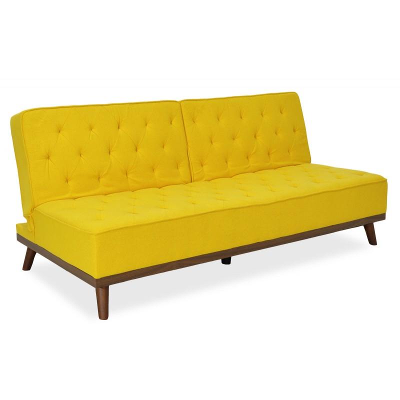 """Καναπές-κρεβάτι """"MARCO"""" τριθέσιος υφασμάτινος σε κίτρινο χρώμα 180x80x80"""