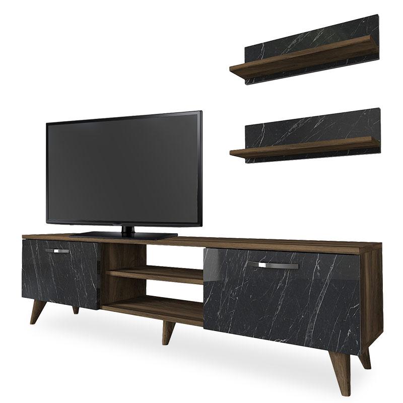 """Σύνθεση τηλεόρασης """"PWF-0250"""" μαρμάρινο-μεταλλικό σε μαύρο-καρύδι χρώμα 150x30x40,5"""