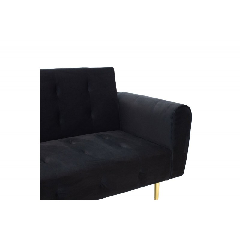 "Kαναπές-κρεβάτι ""ELEGANT"" τριθέσιος με βελούδο χρώμα μαύρο 213x80x78"