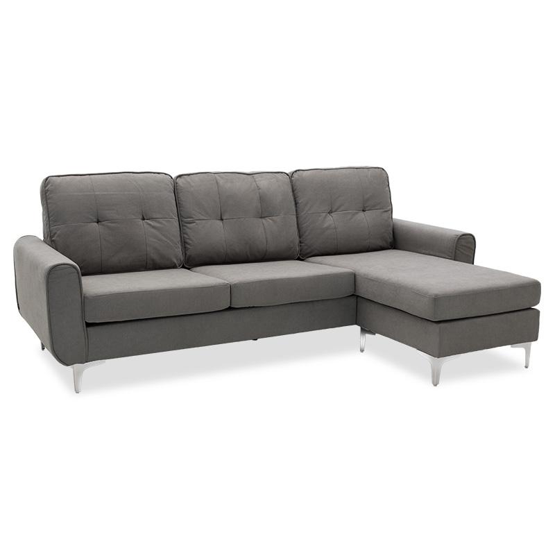 """Γωνιακός καναπές """"BALLON"""" αναστρέψιμος υφασμάτινος σε χρώμα γκρι 218x135x83,5"""