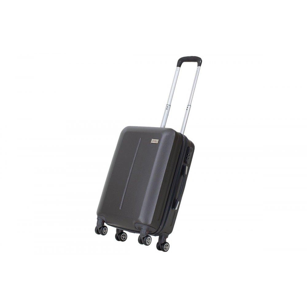 """Βαλίτσα καμπίνας """"LINE"""" με ρόδες σκληρή από ABS σε χρώμα ανθρακί 40x22x55"""
