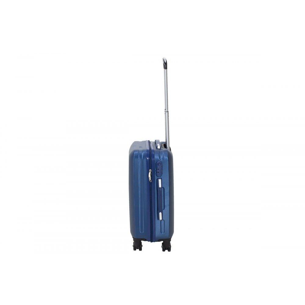 """Βαλίτσα καμπίνας """"LINE"""" με ρόδες σκληρή από ABS σε χρώμα μπλε 40x22x55"""