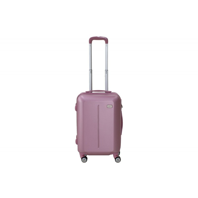 """Βαλίτσα καμπίνας """"LINE"""" με ρόδες σκληρή από ABS σε χρώμα ροζ 40x22x55"""