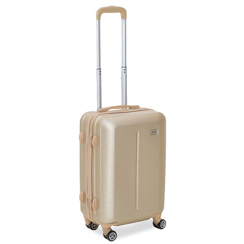 """Βαλίτσα καμπίνας """"LINE"""" με ρόδες σκληρή από ABS σε χρώμα σαμπανιζέ 40x22x55"""