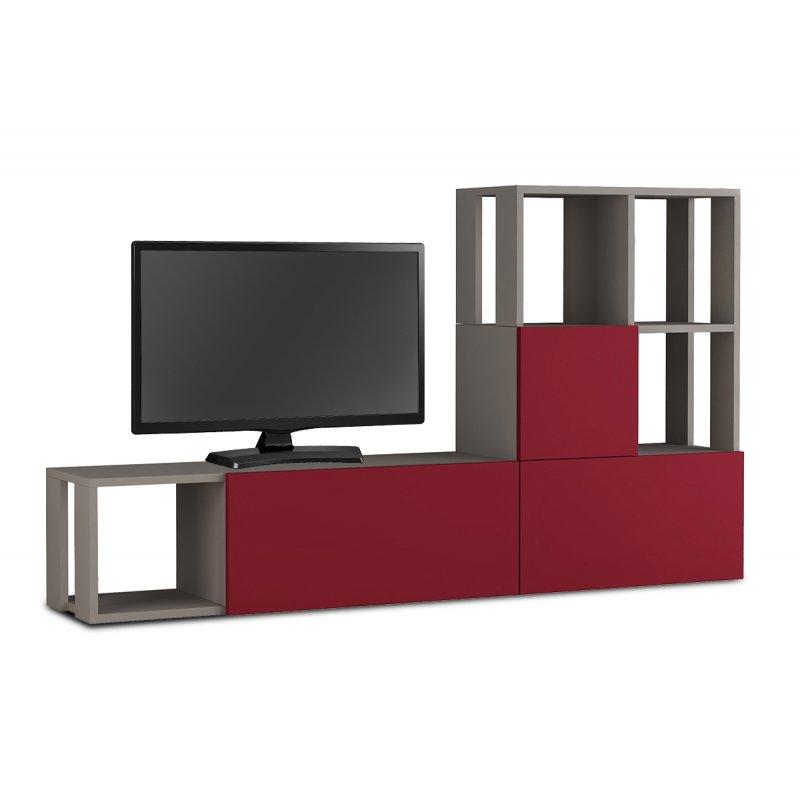 """Σύνθεση TV """"GUDA"""" σε μόκα-σκούρο κόκκινο χρώμα 160x31,5x92"""