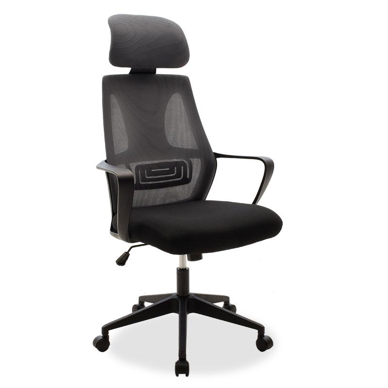 """Καρέκλα γραφείου διευθυντή """"DOLPHIN"""" με ύφασμα mesh χρώμα μαύρο-γκρι 65.50x64x117/126"""