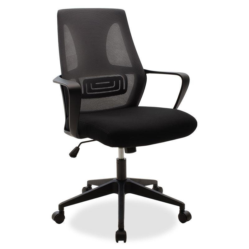 """Καρέκλα γραφείου διευθυντή """"MAESTRO"""" με ύφασμα mesh χρώμα μαύρο-γκρι 63x62x97/105"""