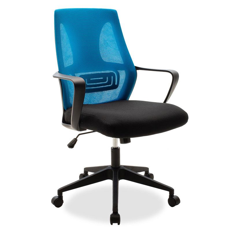 """Καρέκλα γραφείου διευθυντή """"MAESTRO"""" με ύφασμα mesh χρώμα μαύρο-μπλε 63x62x97/105"""