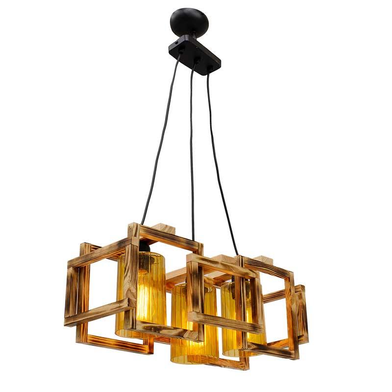 Φωτιστικό τρίφωτο από ξύλο σε χρώμα μαύρο/καρυδί 50x20x87