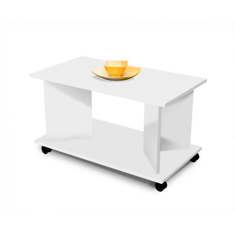 """Τραπέζι σαλονιού """"HERMES"""" τροχήλατο σε χρώμα λευκό 90x50x50"""