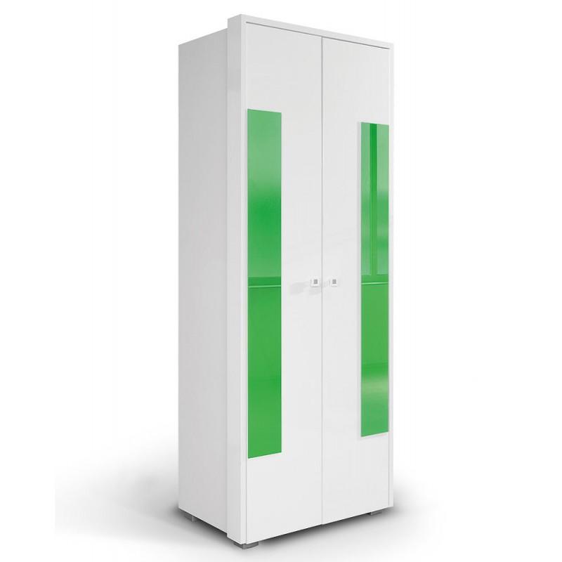 """Ντουλάπα """"HAPPY O2V"""" δίφυλλη σε χρώμα λευκό/πράσινο 85x54x220"""