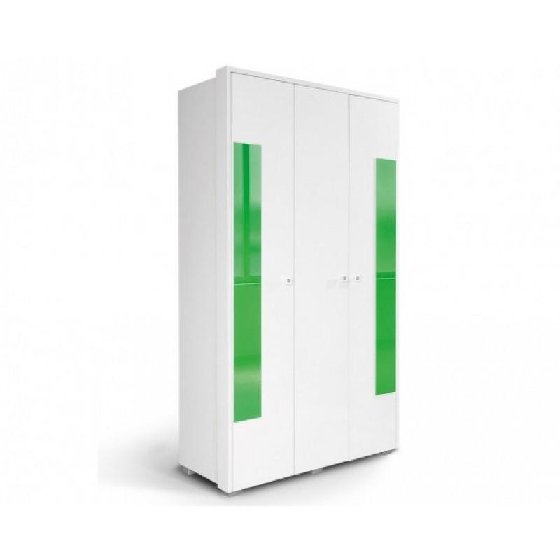 """Ντουλάπα """"HAPPY O3V2F"""" τρίφυλλη σε χρώμα λευκό/πράσινο 125x54x220"""