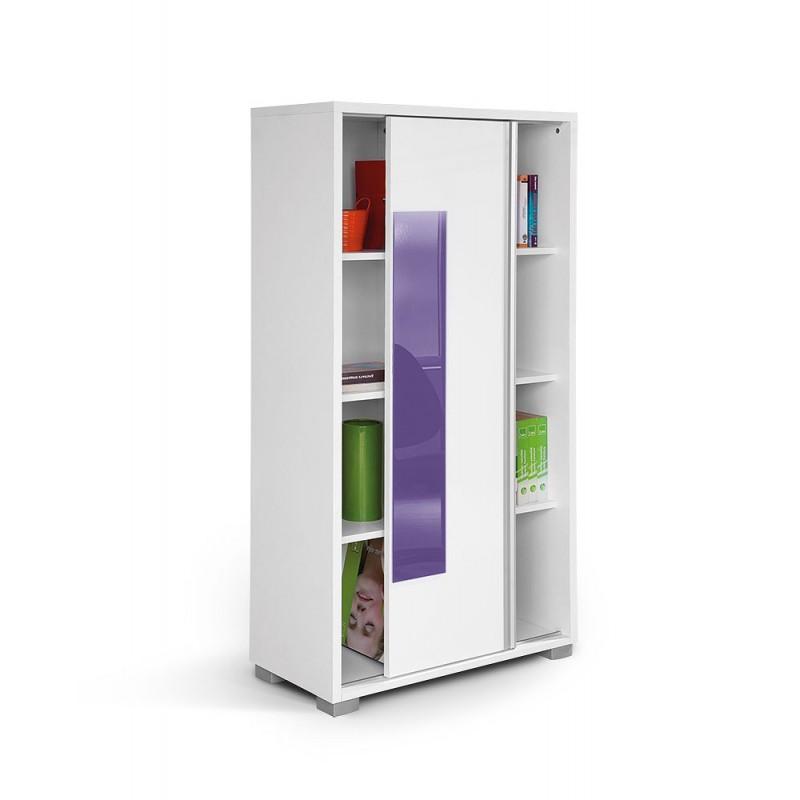 """Βιβλιοθήκη """"HAPPY KL POL"""" με συρόμενη πρόσοψη σε χρώμα λευκό/μώβ 80x38x153"""