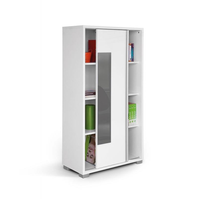 """Βιβλιοθήκη """"HAPPY KL POL"""" με συρόμενη πρόσοψη σε χρώμα λευκό/γκρι 80x38x153"""