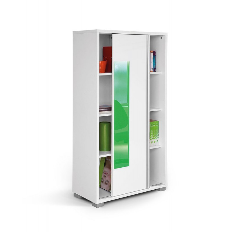 """Βιβλιοθήκη """"HAPPY KL POL"""" με συρόμενη πρόσοψη σε χρώμα λευκό/πράσινο 80x38x153"""