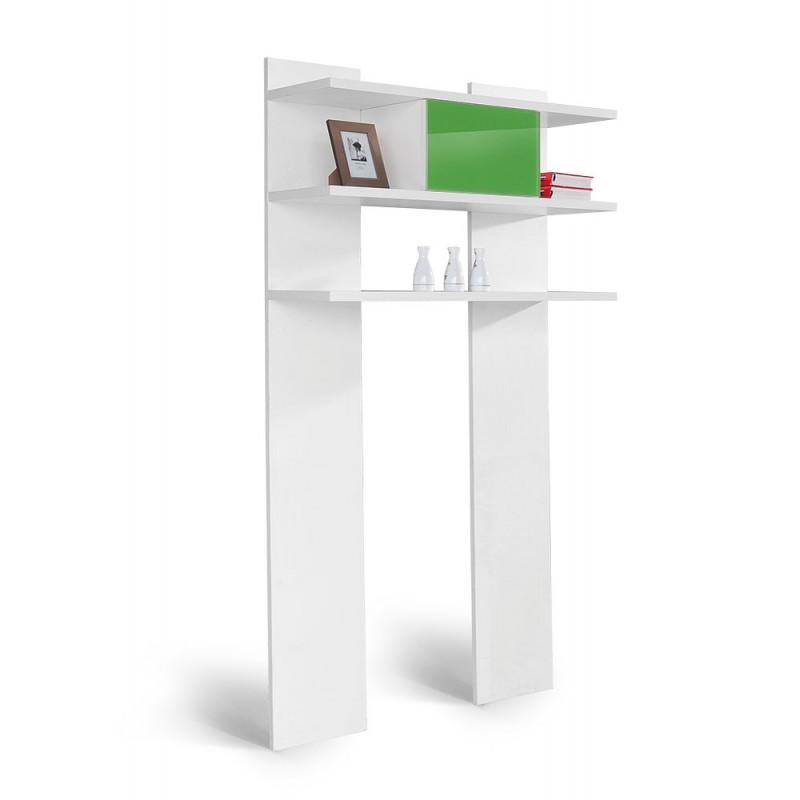 """Βιβλιοθήκη """"HAPPY VEL POL"""" σε χρώμα λευκό/πράσινο 100x32x190"""