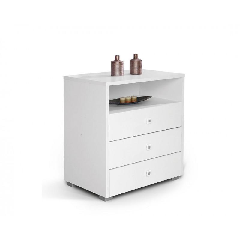 """Συρταριέρα """"HAPPY KOM 3F"""" σε χρώμα λευκό 78x52x88"""