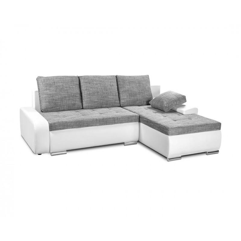 """Καναπές-γωνία-κρεβάτι """"WINNER"""" με λευκό δέρμα και γκρι ύφασμα 257(190)x100x72"""