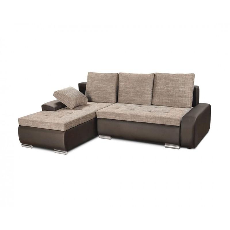 """Καναπές-γωνία-κρεβάτι """"WINNER"""" καφέ δέρμα αν.καφέ ύφασμα 257(190)x100x72"""