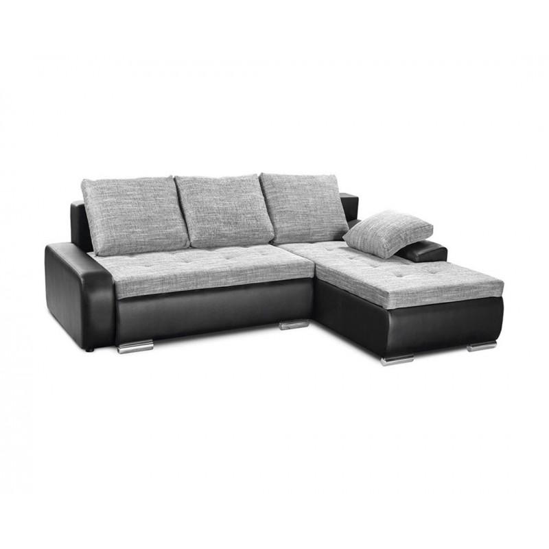 """Καναπές-γωνία-κρεβάτι """"WINNER"""" με μαύρο δέρμα και γκρι ύφασμα 257(190)x100x72"""