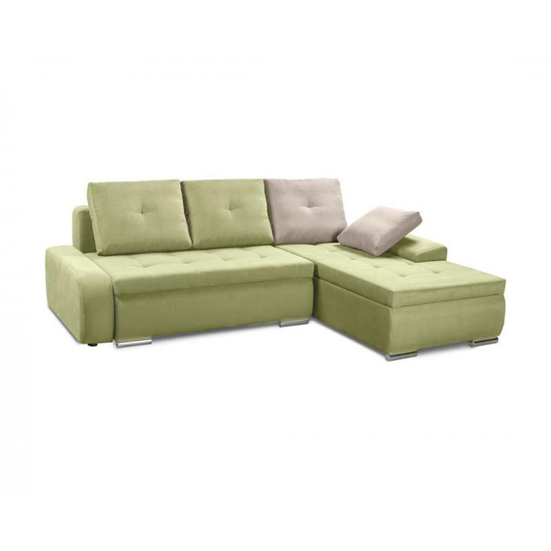 """Καναπές-γωνία-κρεβάτι """"WINNER LUX"""" υφασμάτινος σε λαχανί-μπεζ χρώμα 257x190x72"""