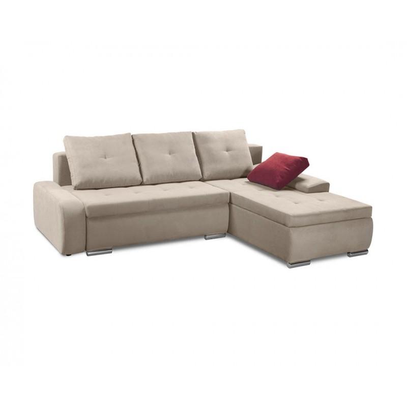 """Καναπές-γωνία-κρεβάτι """"WINNER LUX"""" υφασμάτινος σε μπεζ χρώμα 257x190x72"""