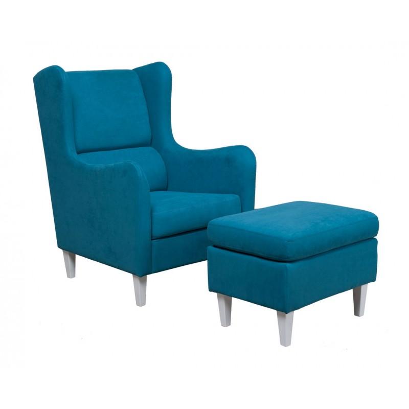 """Πολυθρόνα-σκαμπώ σετ """"GRAZIA"""" από ύφασμα σε μπλε χρώμα 72x89x105"""