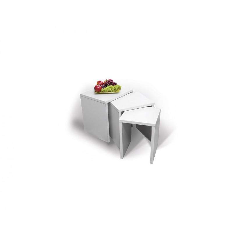 """Σετ τραπεζάκια 3τμχ """"PIKOLO 3D"""" σε χρώμα λευκό 45x38x48"""