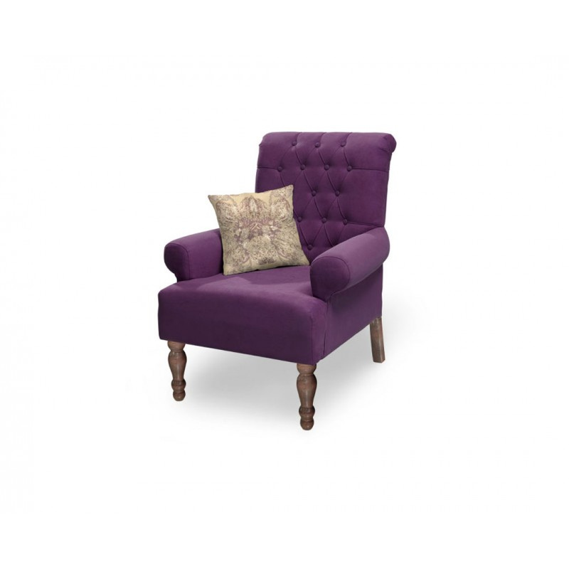 """Πολυθρόνα """"FLORA"""" υφασμάτινη σε μωβ χρώμα 80x85x96"""