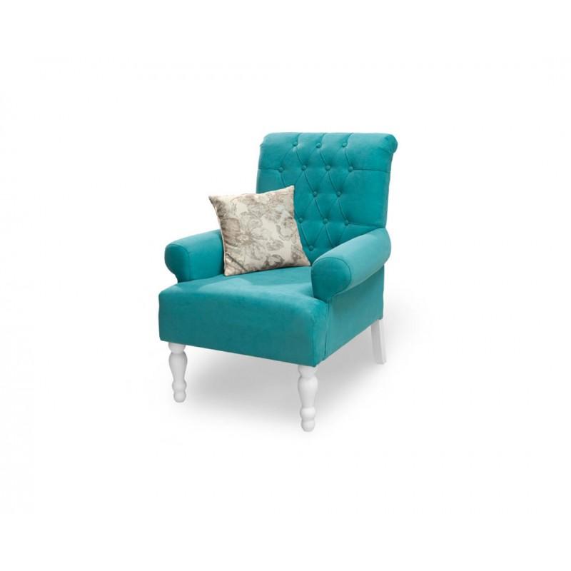 """Πολυθρόνα """"FLORA"""" υφασμάτινη σε μπλε χρώμα 80x85x96"""