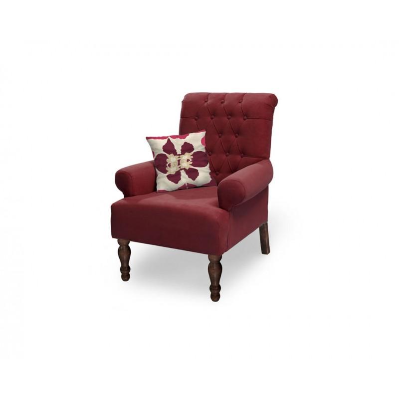 """Πολυθρόνα """"FLORA"""" υφασμάτινη σε κόκκινο χρώμα 80x85x96"""
