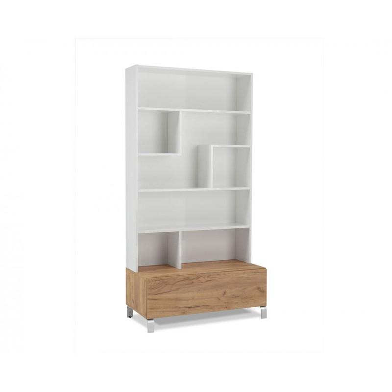 """Βιβλιοθήκη """"SHOWCASE OV1F"""" σε χρώμα λευκό-δρυς 100x50x196"""
