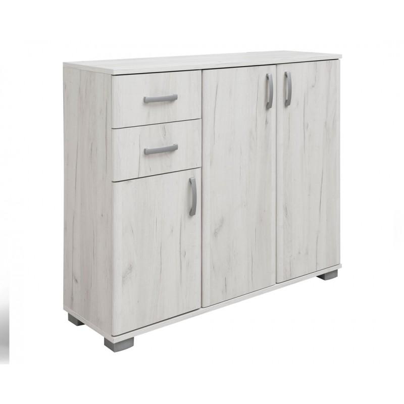 """Έπιπλο εισόδου """"ROMA 3"""" σε χρώμα λευκό-δρυς 112.50x37x95"""