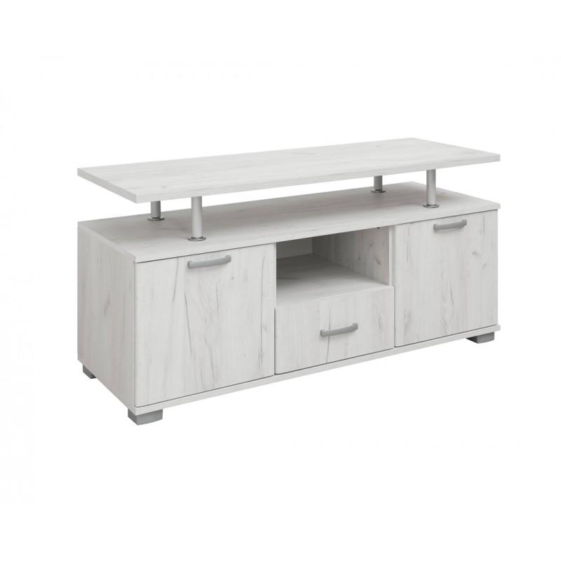 """Έπιπλο τηλεόρασης """"LUNA"""" σε χρώμα λευκό-δρυς 135x50x67"""