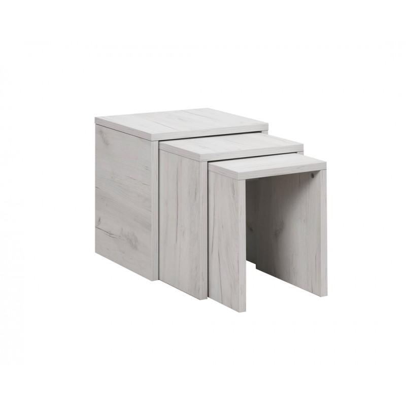"""Σετ τραπεζάκια 3τμχ """"PIKOLO 3D"""" σε χρώμα λευκό-δρυς 45x38x48"""