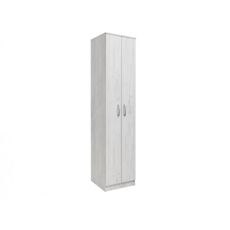 """Ντουλάπα """"FORTUNA SOFT F1"""" μονόφυλλη σε χρώμα λευκό-δρυς 50x52x222"""