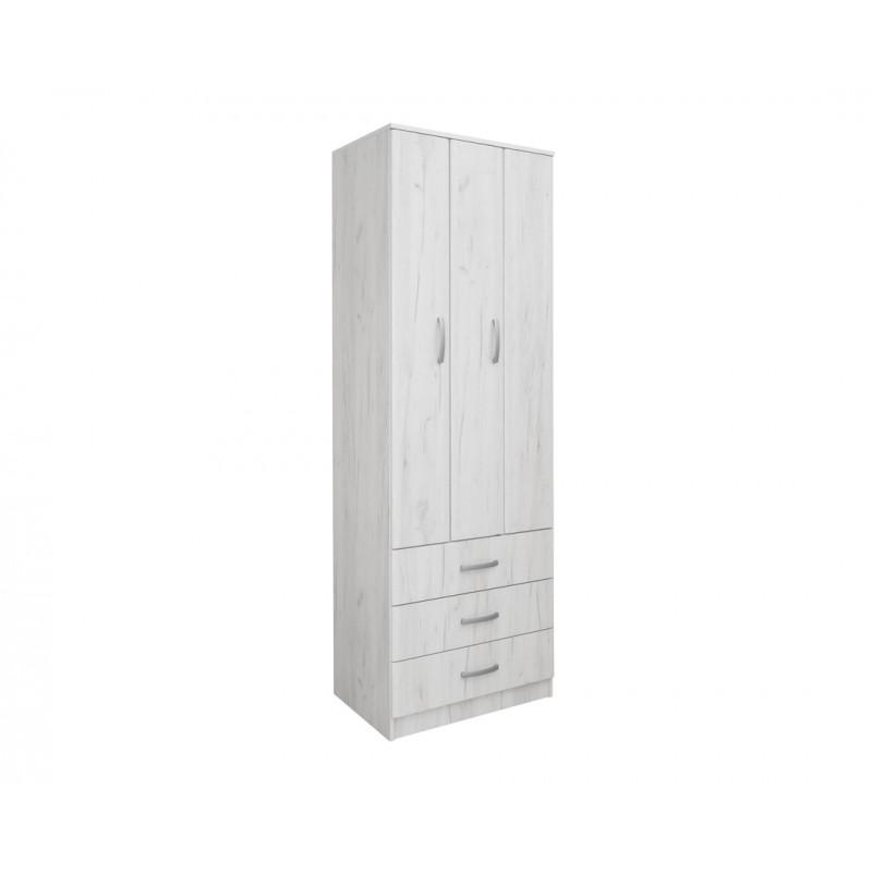 """Ντουλάπα """"FORTUNA"""" δίφυλλη σε χρώμα λευκό-δρυς 75x52x222"""