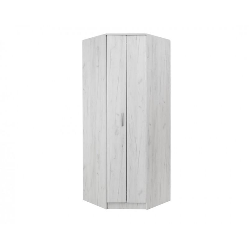 """Γωνιακή ντουλάπα """"FORTUNA"""" σε χρώμα λευκό-δρυς 88/52x87/52x222"""