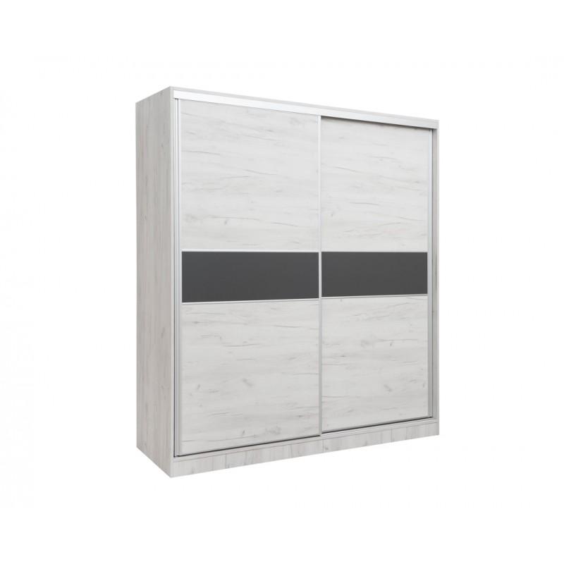 """Ντουλάπα """"AMERICAN 200"""" δίφυλλη βαρέως τύπου συρόμενη σε χρώμα λευκό-δρυς 200x65x220"""