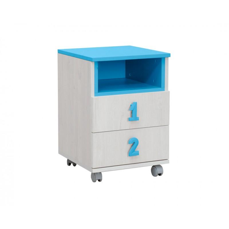"""Κομοδίνο """"NUMERO"""" τροχήλατο σε χρώμα λευκό-μπλε 40x42x60"""