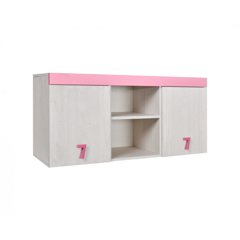 """Ραφιέρα γραφείου """"NUMERO"""" σε λευκό-ροζ χρώμα 120x42x57,5"""