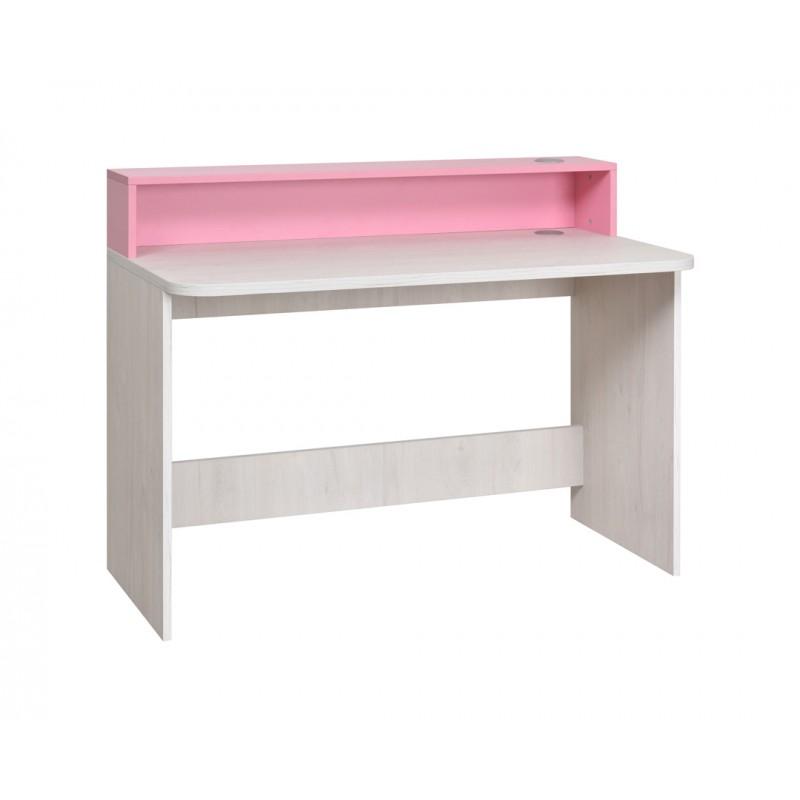 """Γραφείο εργασίας """"NUMERO"""" σε λευκό-ροζ χρώμα 120x60x75/93"""
