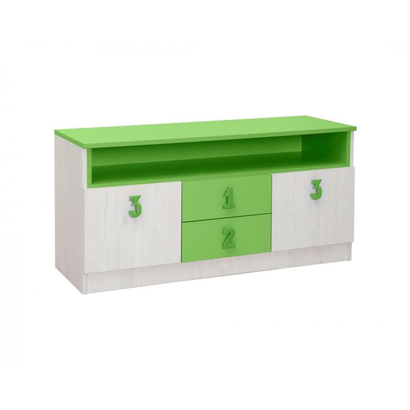 """Έπιπλο TV/μπουφές """"NUMERO"""" σε λευκό-πράσινο χρώμα 120x42x60"""