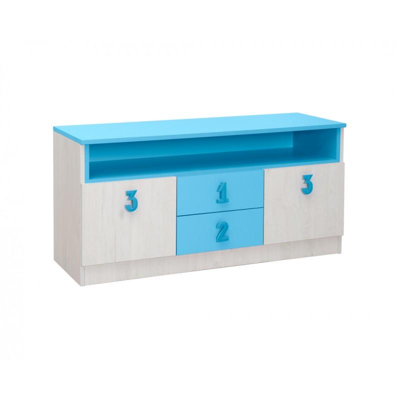 """Έπιπλο TV/μπουφές """"NUMERO"""" σε λευκό-μπλε χρώμα 120x42x60"""