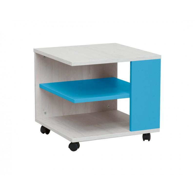 """Τραπεζάκι """"NUMERO"""" τροχήλατο σε λευκό-μπλε χρώμα 45x45x43"""