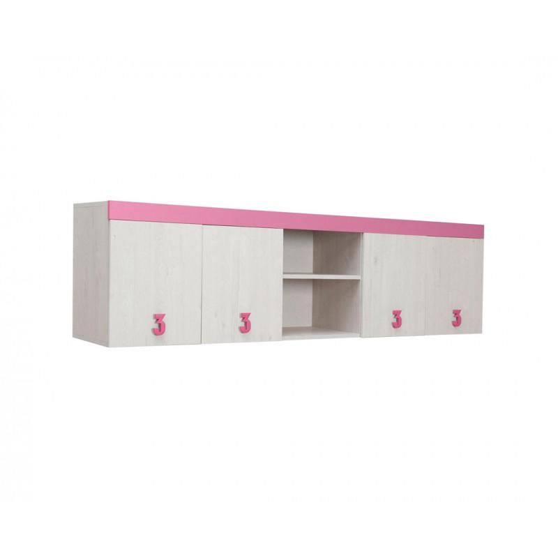 """Ντουλάπι παιδικό """"NUMERO"""" σε λευκό-ροζ χρώμα 205x42x57,5"""