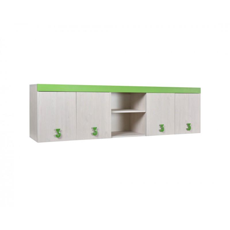 """Ντουλάπι παιδικό """"NUMERO"""" σε λευκό-πράσινο χρώμα 205x42x57,5"""