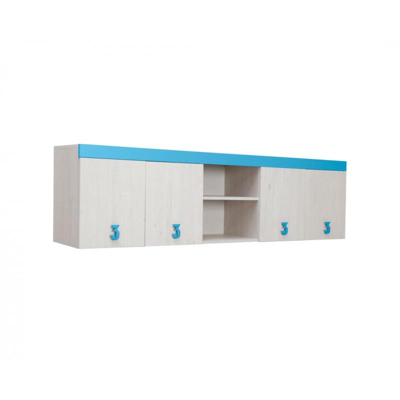 """Ντουλάπι παιδικό """"NUMERO"""" σε λευκό-μπλε χρώμα 205x42x57,5"""